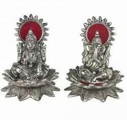 Silver White Metal Ganesh & Lakshmi