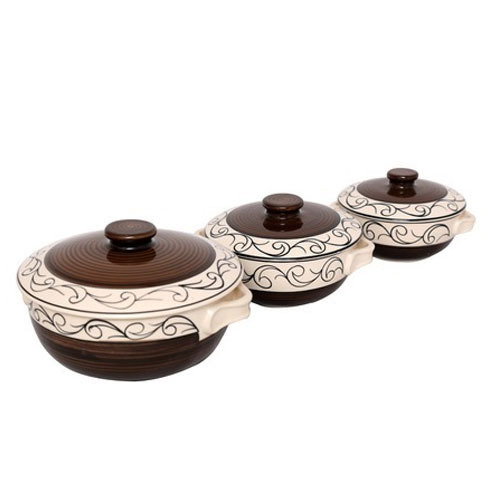 Brown And White Ceramic Casseroles Set, Size: Small, Medium And Large