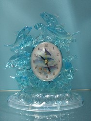 Light Blue Dolphin Showpiece With Watch