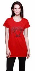 Ladies Printed Red T-Shirt