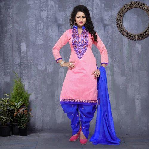 73dc27c77c Unstitched Chanderi Cotton Chanderi Patiala Salwar Kameez Suit, Rs ...