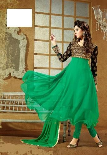 764f6a0fa4 Fancy Frock Style Designer Green Anarkali Suit at Rs 590 /piece ...