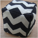 Black and White Ottoman Pouf Stools