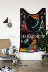 Tie Dye Wolf Howling at Moon Wall Hanging