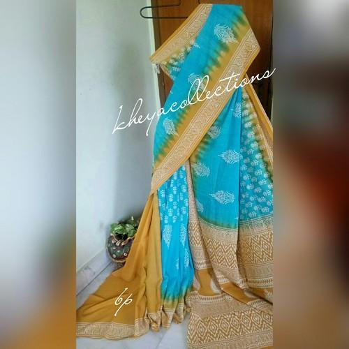 Soft Cotton Mulmul Dabu Printed Dubka Work Saree