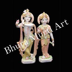 Multicolour Radha Krishna Marble Statue