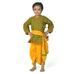 Printed Green and Yellow Girl Dhoti Angrakha Set 202A