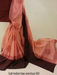 Cotton Casual Wear South Handloom Printed Saree, Length: 5.5 m