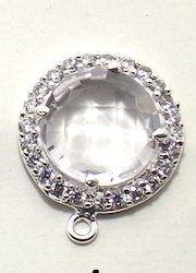 Cubic Zirconia Round Shape Bezel Connector