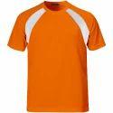 Orange Plain Mens Half Sleeve Sports T Shirts