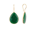 Green Emerald Bezel Set Gemstone Earring