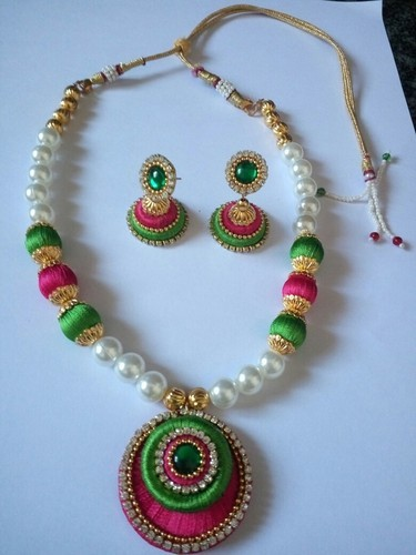 buy red necklace cotton thread metal com jaypore silver green at online