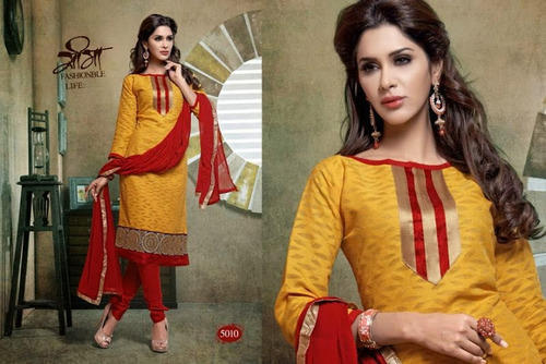 Party Wear Yellow And Red Chanderi Suits
