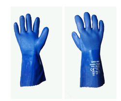 PVC Blue Supported Hand Gloves