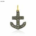 Diamond Pave Anchor Charm Pendant