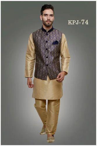 Silk Gold Black Jacket Kurta Pyjama Rs 2895 Piece Adaa Fashion
