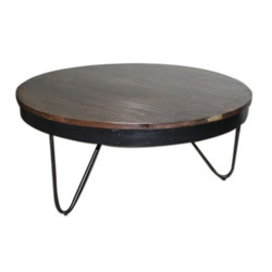 Wood Top Industrial Vintage Iron Coffee Table