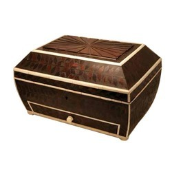 Rectangle Wooden Cash Box with Camel Bone Edges
