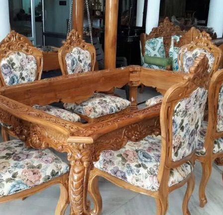 wooden dining table and 6 chairs. Dining Table With 6 Chairs Beautifully Crafted In Teak Wood