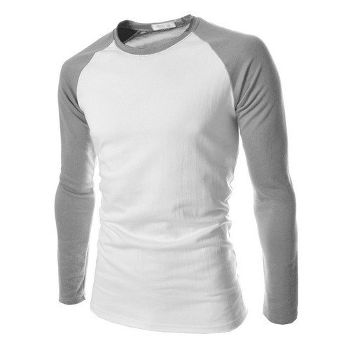 d355c87cfa9 White And Grey Round Neck Men  s Cotton Sports T-Shirt