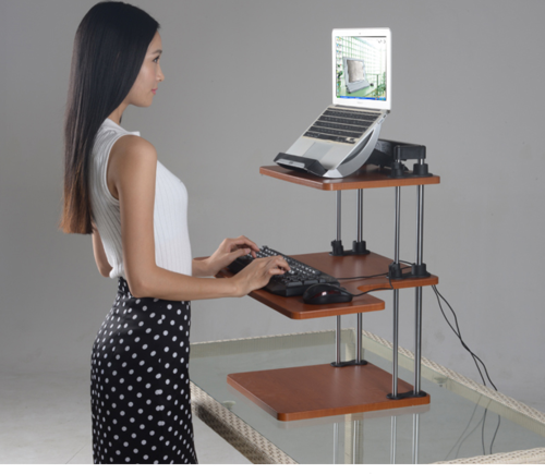 Adjule Sit To Stand Standing Desk On Top Of Your Existin