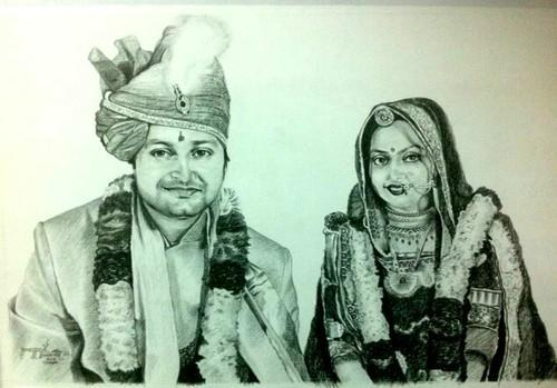 Wedding couple pencil sketch