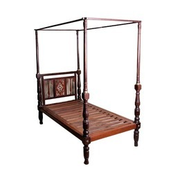 Brown Antique Rosewood Tiled Canopy Bed