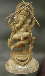 Wood Sculpture Of Lord Ganesha Playing Drum (Durja)