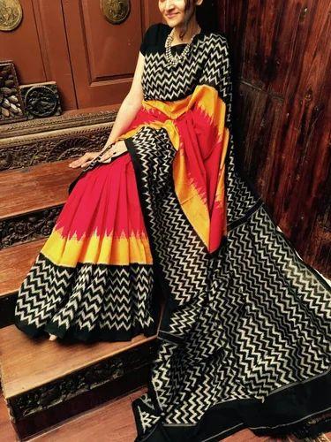 8cda822e7c5ebd Handloom Cotton Ikkat Saree, With Blouse, Rs 2400 /piece, Shobha ...