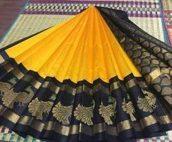 Yellow and Black Kuppadam Silk Cotton Saree