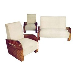 Collectors Corner Cream Teak Art Deco 3-Piece Suite
