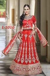 Red Dubka Work Trendy Bridal Lehenga