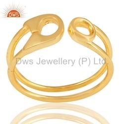 Art Gold Plated Plain Silver Ring Jewelry