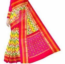 Ikkat Designer Silk Multi Color Jig Jag Saree