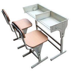 Wooden and Metal Height Adjustable Desk Set