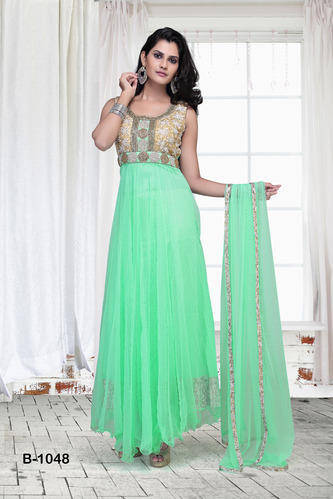 Sea Green Net Readymade Gown Ladies Gown Suit Ladies Ka Gown