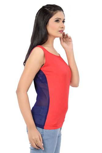 ee1feb0690548 Ishin Viscose   Georgette Pink   Blue Tank Top at Rs 450  piece(s ...