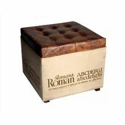 Industrial Pouf Stool With Storage Box, Dimension: 18 x 18 x 18 inch