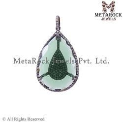 Pave Diamond Crystal Pendant