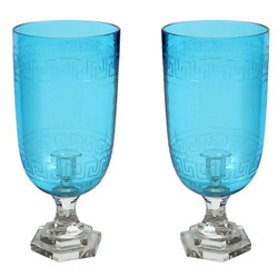 Blue Glass Candle Stands, Shape: Jar Shaped