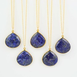 Lapis Gemstone Bezel Set Pendant Necklace