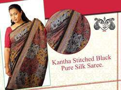 Pure Silk Stitched Kantha Saree, Size: 6.5 m