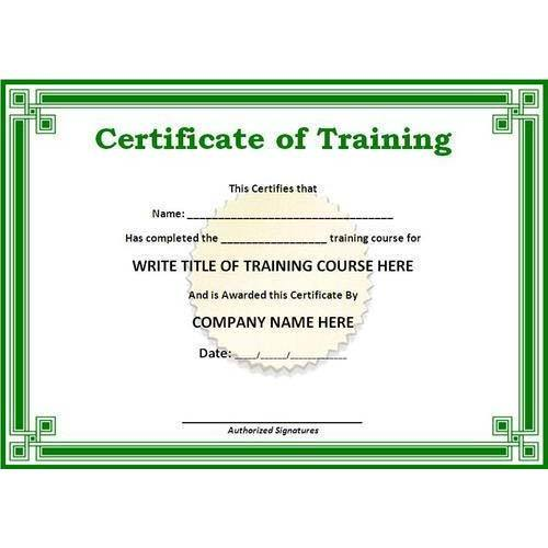 certificate for training