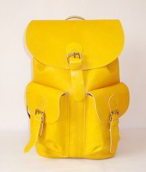 M B Exports Leather Backpack