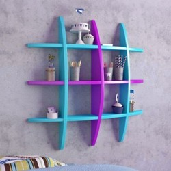 Blue And Purple Wooden Designer Wall Shelves