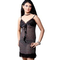 Black Dotted Night Frock 503