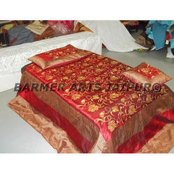 Designer Bed Cover Silk Zari Embroidery