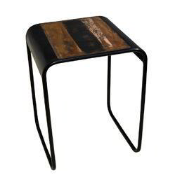 Standard Black Iron Wooden Industrial Reclaimed Wood SideTable, For Home, Number Of Drawer: One