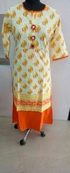 Medium And Large Stitched Double Layered Cotton Kurti