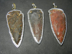 Pave Set Gemstone Arrowhead Pendant